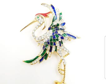 Big Rhinestone Stork Crane Brooch Blue Green Enamel Clear Rhinestones, Vintage Bird of Paradise Pin, Exotic Bird Brooch, Tropical Jewelry