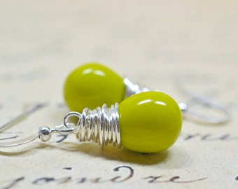 Avocado Green Wire Wrapped Dangle Earrings, Modern Minimalist Jewelry, Chartreuse, Yellow Green Teardrops
