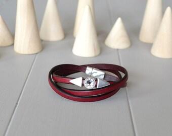Leather Crystal Bracelet, Red Wine Leather Bracelet, Thin Leather Wrist Strap, Arrowhead Bracelet