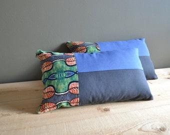 Wachs drucken lumbale Kissen - Set 2 x - afrikanischen blau schwarz und grün 12 x 20 lumbalen Kissen - moderne Housewarminggeschenk - moderne in-