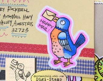 Bluebird Digital Stamp - Digistamp Original - Happy Mail - Stamp - Printable Sticker - Clip Art - Printables
