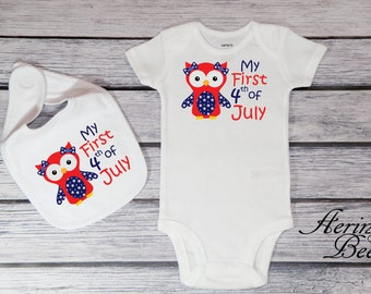 My First 4th of July Bodysuit; Fourth of July Baby Bib; Independence Day; My 1st Fourth of July; Patriotic Bodysuit; Patriotic Owl; *JF1515
