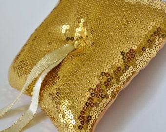 Gold Pailletten Stoff Ring Inhaberaktien Kissen