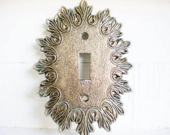 Brass Gold Starburst Switchplate Single Toggle, Price  For 1 /Midcentury /Hollywood Regency Switchplate /Original Finish