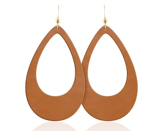 Leather earrings, tan leather teardrop cutout earrings, leather teardrop earrings