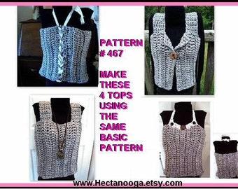 CROCHET PATTERN, Tank top, vest, tube top, 4 STYLES in 1 Pattern,  clothing, women, girls, toddlers, num. 467
