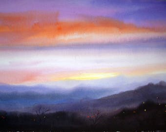 Evening Himalaya Mountain Landscape - Original watercolor painting on paper
