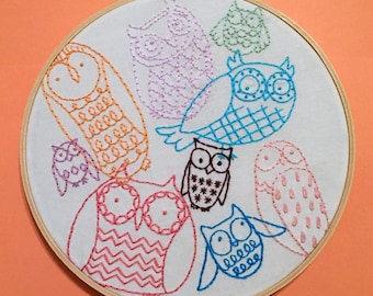 Owl Collage Hand Embroidery Hoop Art - Colorful Wall Art - Owl Lover Gift