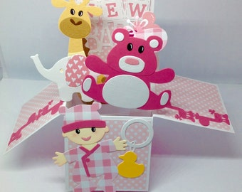 Baby girl pop up card
