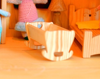 Wooden cradle bassinet dollhouse furniture Montessori waldorf toys Christmas gift Wooden toy furniture Wooden furniture for dollhouse