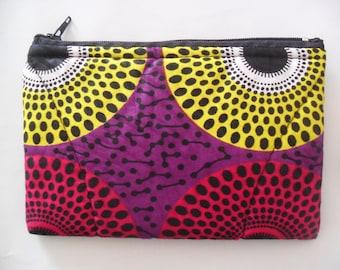 Handmade Small Tribal, African, Print purse, Cosmetic Bag, Money Bag.