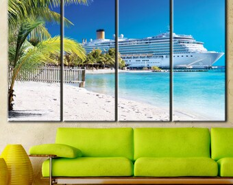 Cruise Liner Wall Art, Cruise Ship, Cruise Liner Print, Cruise Ship Canvas, Beach Decor, Beach Home Decor, By the Seashore, Beach Print