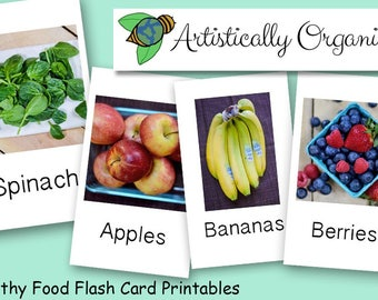 Healthy Food Flash Cards Instant Download | 20 Homeschooling Flash cards, Vegan Food Flash Cards