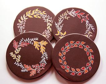 Thanksgiving Coasters, Thanksgiving Decor, Coasters, Hostess Gift, Set of Coasters, Fall Colors, Wreath Coasters, Autumn Colors (5248)
