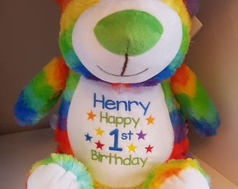 "Personalised 15"" Cubbies, Rainbow Teddy Bear With Embroidered Design on Front"
