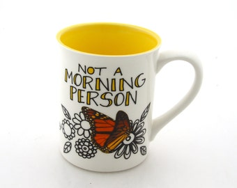 Don't speak until after coffee - Not a morning person mug - monarch butterfly - funny gift - oversized mug - coffee addict