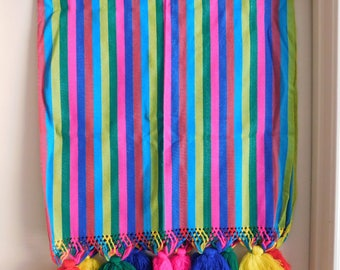 Vintage Guatemalan Textile, Runner, Tablecloth, Striped Fabric