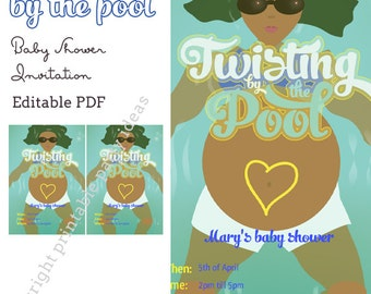Twisting by the Pool Baby Shower Invitation - editable PDF - add your own text