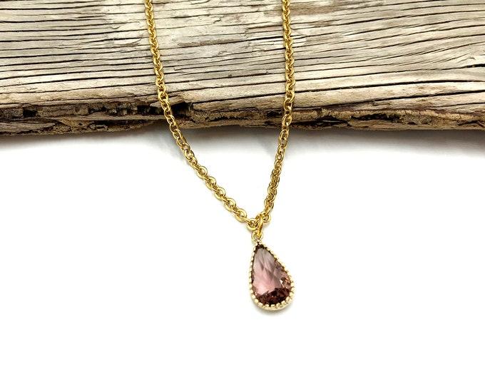 RAINNA: simulated glass drop necklace