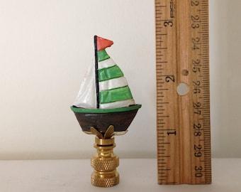 Sailboat Lamp Finial-Lamp Topper-Finial-Lamp-Lighting-Sailboats-Lamp Accessory-Lamp Harp-Decorative Accent-Lamps with Harp-Lighting-Nautical