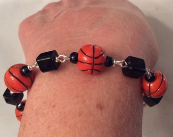 """Basketball Bracelet. Silver Tone Link. Sport Theme. School Colors. Team Jewelry. 8"""" Bracelet. Angelic Beaders. Gift for Sport Fans and Moms"""