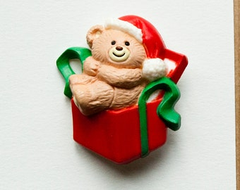 Bear Gift Brooch Pin Vintage Christmas
