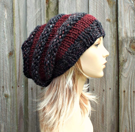 Knit Hat Womens Hat Slouchy Beanie - Oversized Beehive Beret Hat in Blackstone Wine Knit Hat - Black Hat Grey Hat WIne Hat Red Hat
