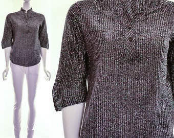 Vintage Charcoal Dark Silver Lurex Mandarin Collar Blouse Asian Inspired Sparkly Top Small