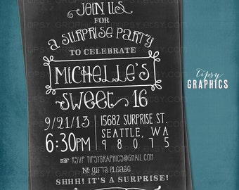 Fun Vintage Chalkboard Birthday Party Invite by Tipsy Graphics. Sweet 16. Surprise. Dirty 30. Bachelorette Party.