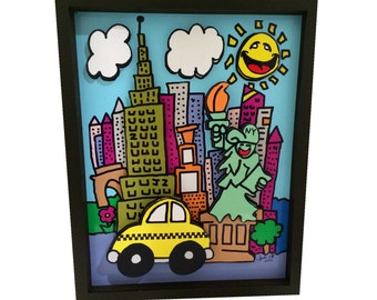 New York City Pop Art NYC 3D Art Print Taxi Cab Statue of Liberty