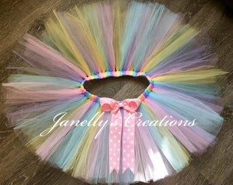Easter tutu, bunny tutu, birthday tutu, part tutu, pastel tutu, rainbow tutu, sizes preemie to 14/16, rainbow tutu, custom tutu