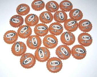 Vintage Orange A & W Root Beer Bottle Caps Set of 25