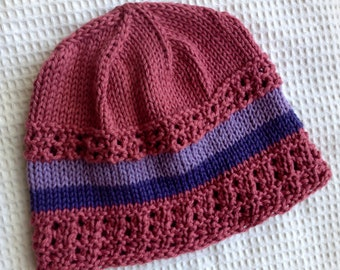 Rose Cotton Handknit Hat/Cap with Lavender and Purple Band. OOAK Good Chemo Cap!