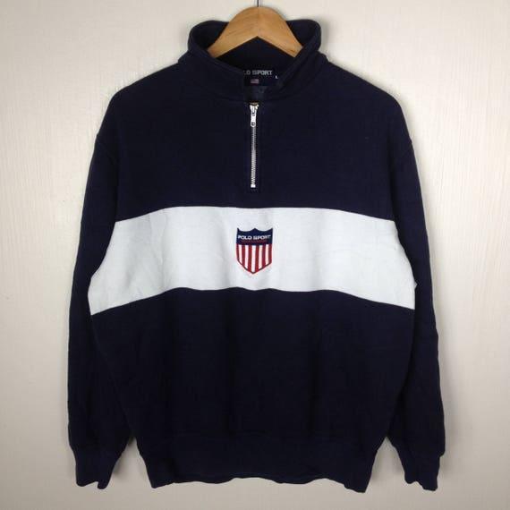 RARE!!! Vintage 90s POLO SPORT Windbreaker Jacket Vintage 90s Polo Sport Spell Out Big Logo black/white Color//Large Size j42rVb