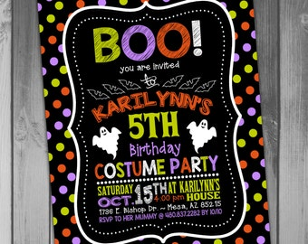 Halloween Birthday Invitation Birthday Party Halloween Invitation Halloween Party Costume Party Chalkboard Birthday Kid's Party