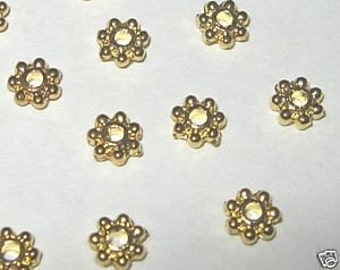 100-14Kt Gold Plated Spacer Beads-1.5x4mm-FREE 50 Earring Hooks (4B14)