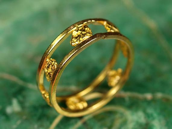 Small Gold Nugget Ring Size 45 Made from Real California