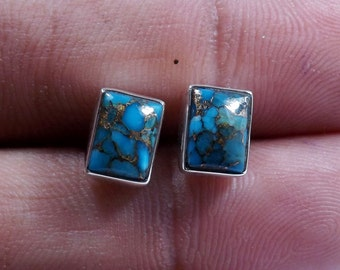 Blue Copper Turquoise Earring, Stud Earring, Turquoise Earring, 925 Sterling Silver, Stud Earring, Handmade Earring, 925 Silver Earring,