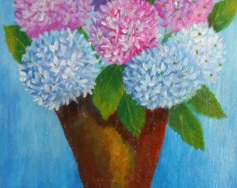 Hydrangea Painting Flower Pot of Hydrangeas Painting Acrylic Hydrangea Painting Floral Painting Painted Hydrangeas