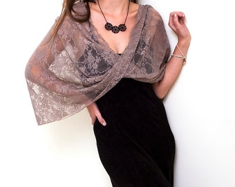 Taupe Evening Lace Shawl, Versatile Top, Loop Shawl With 4 Wearing Options- Shawl, Shrug, Crisscross And Scarf, Lace Elegant Cover Up Wrap