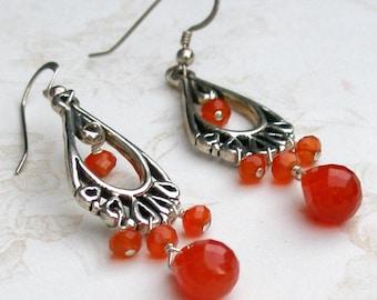 Carnelian earrings-handmade sterling silver chandelier earrings-OOAK