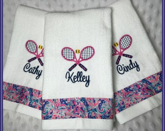 Tennis Towel Embroidered Sweat Towel Crossed Racket Personalized Team Lilly Inspired La Playa