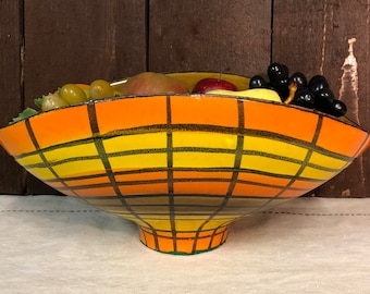 Vintage 1977 Signed MIO Oblong Pottery Bowl with Orange, Yellow and Black Design - Numbered 32 - Italian Pottery Bowl - Retro Decor-Hipster