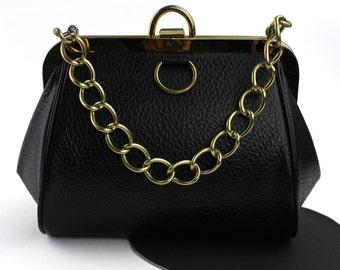 Black Vinyl Handbag with Chain Strap - Medical Doctor Bag Shape
