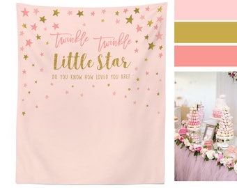 Twinkle Twinkle Little Star Backdrop, First Birthday Photo Backdrop, Pink and Gold Stars Banner Poster, Twinkle Birthday Party Decorations