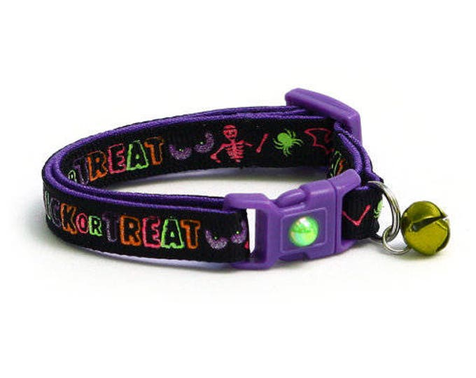 Halloween Cat Collar - Trick Or Treat - Kitten or Large Size