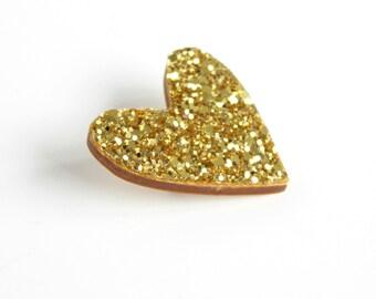 Gold Glitter Heart Pin, Glitter Heart Brooch, Wooden Love Heart Brooch Pin, Mother's Day gift