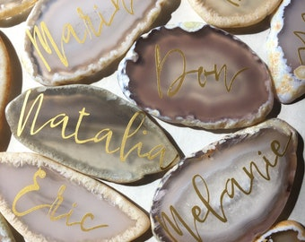 Custom Agate Slices Wedding Name Place cards personalized for you wedding guests and Table Settings - perfect for wedding favors