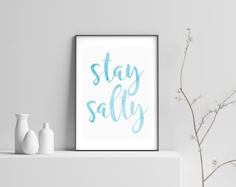 Stay Salty Modern Beach Print Poster