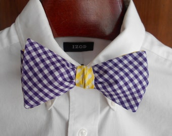 Bow Tie - LSU Purple and Gold Gingham - Men's self tie